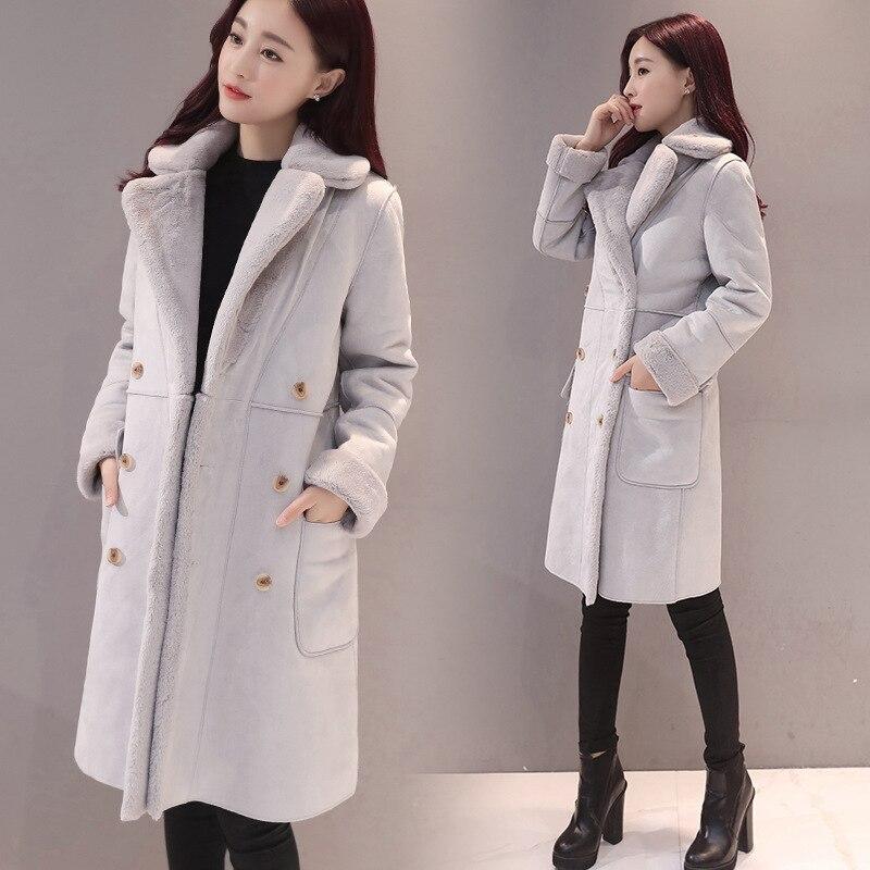 2018 Sobretudo Full Solid Sale New Winter Coat Bayan Kaban Jacket Women Long Double Breasted Deerskin Lamb Wool Windbreaker in Wool amp Blends from Women 39 s Clothing