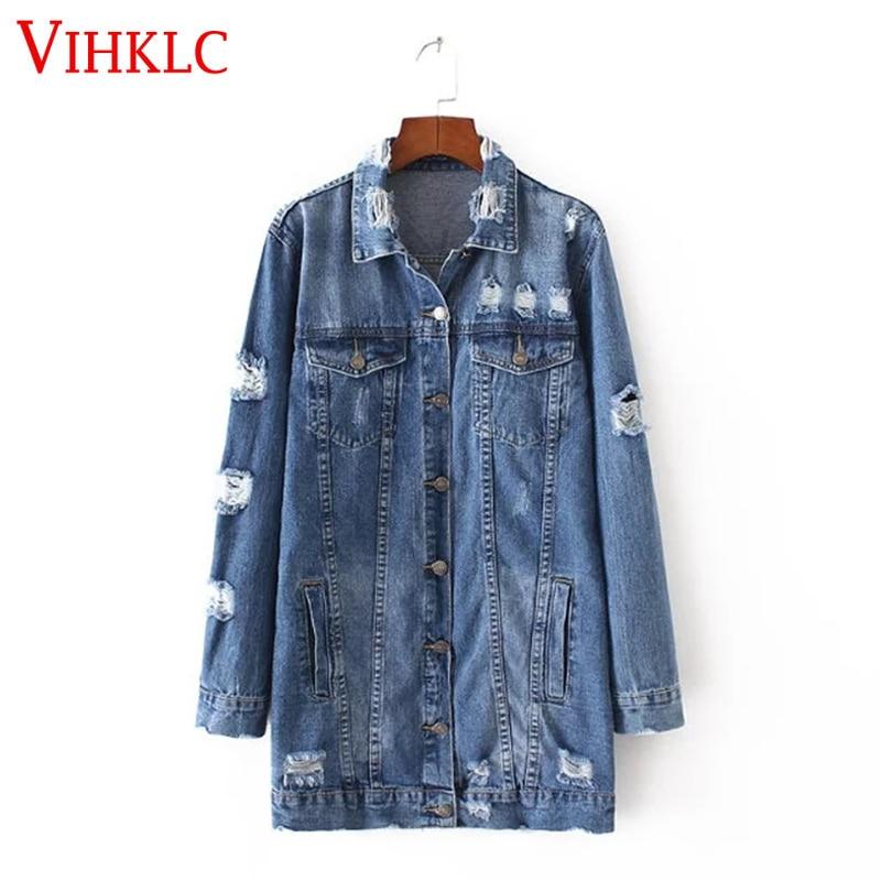 2017 denim jackets women hole boyfriend style long sleeve vintage jean jacket denim loose spring