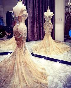 Image 3 - Robe De soirée De forme sirène, luxueuse tenue De soirée longue en dentelle, perles, dorée, scintillante, style dubaï