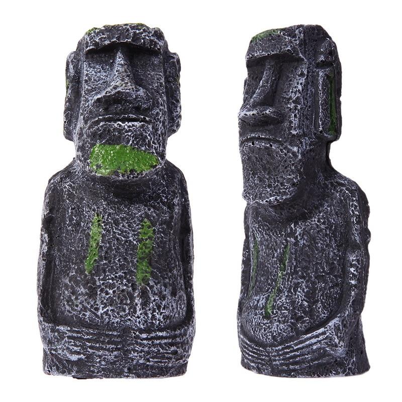 Resin Artificial Aquarium Easter Island Statue Decoration Underwater Landscaping Craft Ornaments For Fish Tank Decor