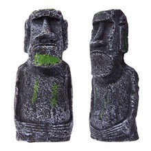 Resin Artificial Aquarium Easter Island Statue Decoration Underwater Landscaping Craft Ornaments For Fish Tank Decor