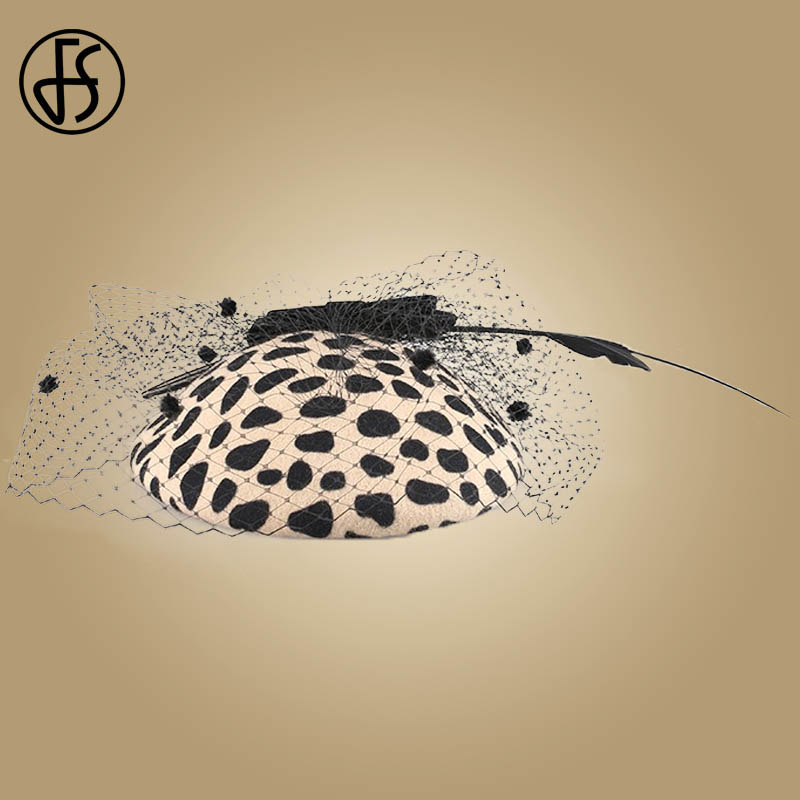 Image 5 - FS Fascinators Black Leopard Pillbox Hat With Veil 100% Australian Wool Felt Wedding Hats Women Vintage Bow Cocktail Fedoras-in Women's Fedoras from Apparel Accessories