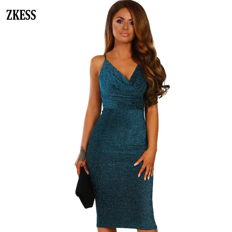 6d5c8b87f4050 US $13.34 46% OFF|ZKESS Women Black/Blue Glitter Lurex Cowl V Neck Party  Bodycon Dress Sexy Sleeveless Shoulder Strap Club Midi Dress LC220585-in ...
