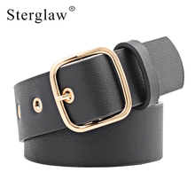 103x3.5cm New rivet Leather Belts for women jeans pin buckle gold black luxury p