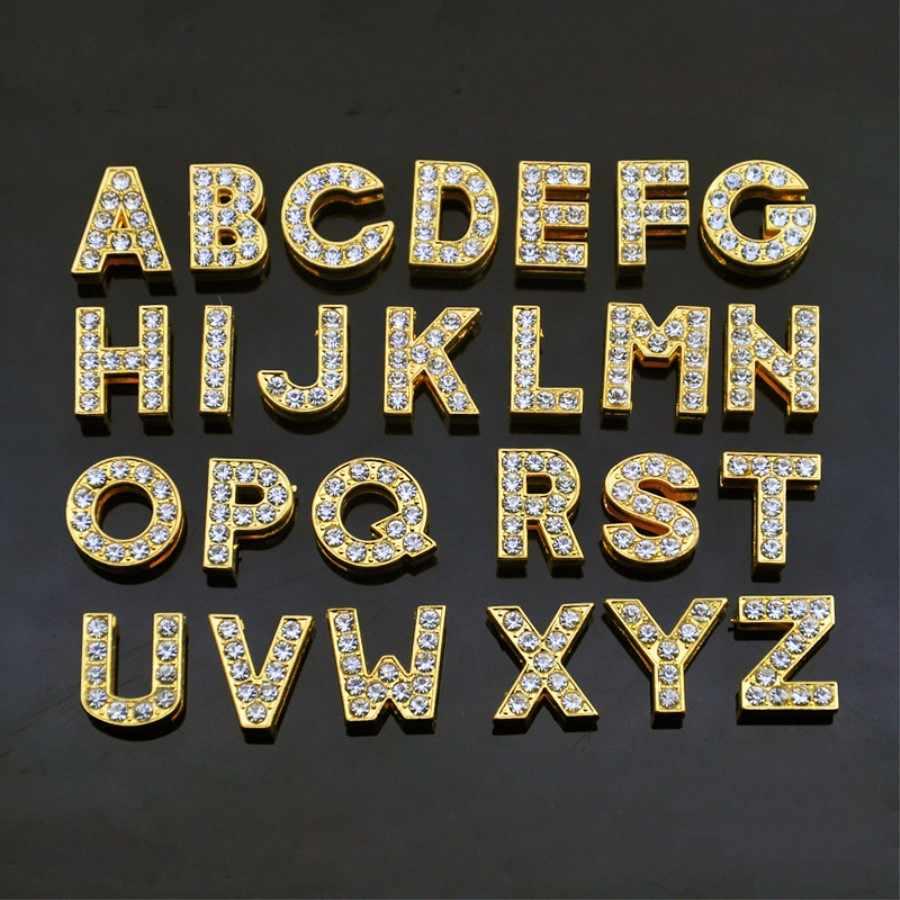 """10 มม.DIY Gold Full Rhinestones สไลด์ตัวอักษร """"A-Z"""" ตัวอักษรเลือกได้อย่างอิสระ Fit 10MM DIY สร้อยข้อมือ SL04"""