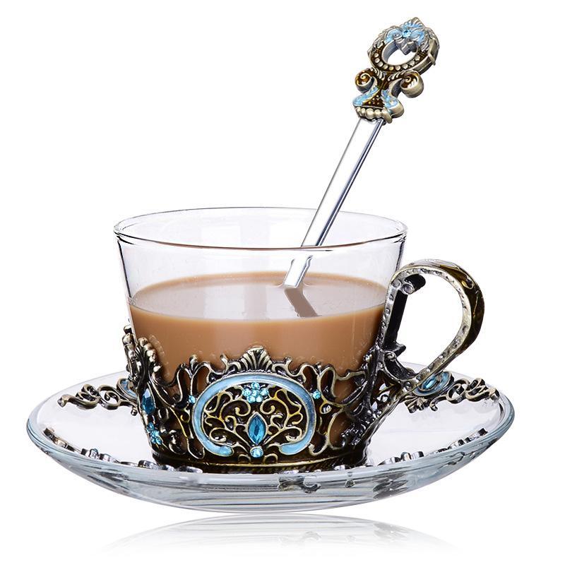 Emaille Transparent Glas Kaffee Tee Becher Blau Rosen Wärme-beständig Tasse Set Mit Edelstahl Löffel Bahn Und Wischen Tuch StraßEnpreis