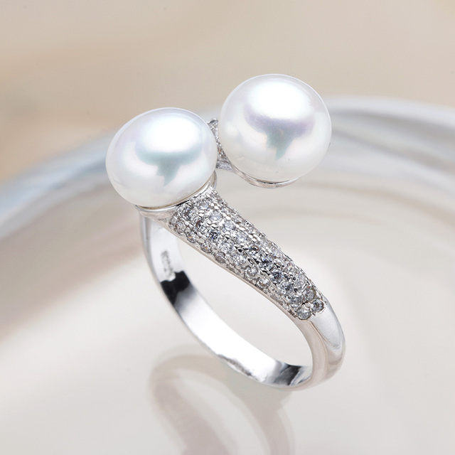 LINDO Wedding rings for women AAAA High Quality 100% Natural Pearl Rings Engagement Jewelry For women Accessories gift