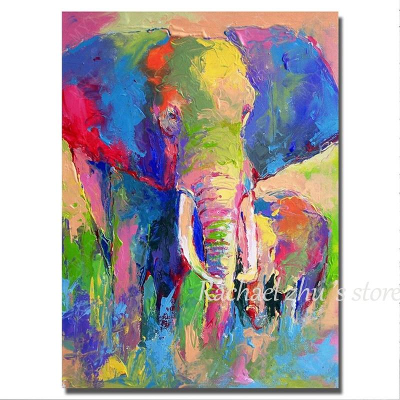Dipinto a mano Astratto Colore Elefante Pittura A Olio Su Tela di Canapa Moderna Elefante Immagini A Parete Per Soggiorno Stanza Libro Home Decor