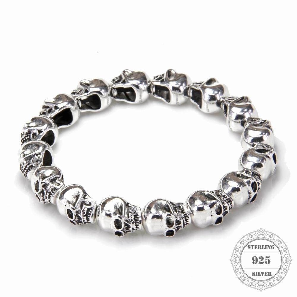 HEMISTON Punk 925 Pulseras de cuentas de calavera de plata esterlina, 14CM-24CM, regalo de joyería fina para mujeres y hombres TS 021