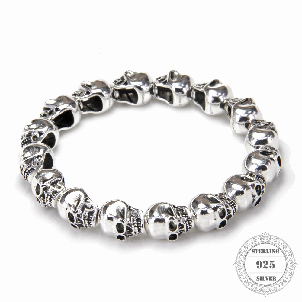 HEMISTON punk 925 srebrne narukvice s perlicama lubanje, 14CM-24CM, fini nakit za žene i muškarce TS 021