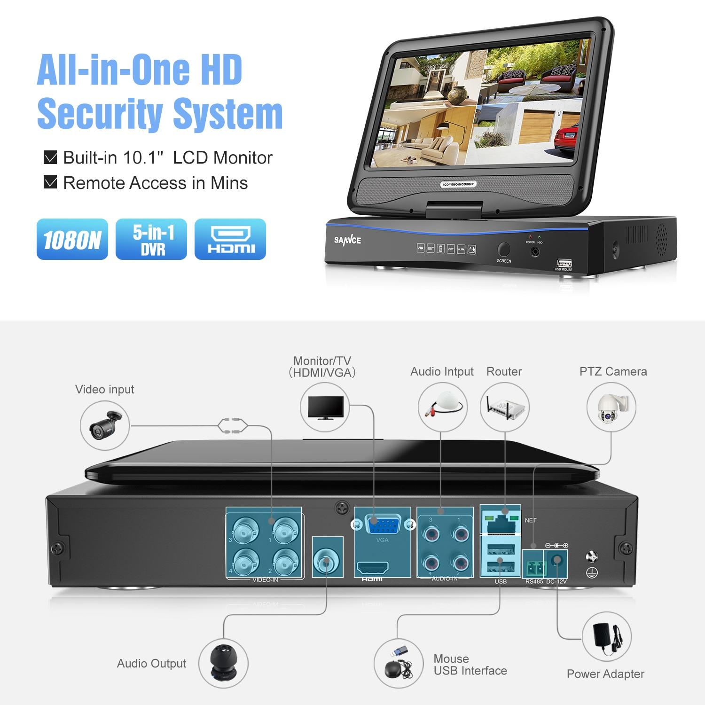 SANNCE 4CH CCTV System 10.1 inç displayer 5in1 DVR 4PCS 720P Kamera - Siguria dhe mbrojtja - Foto 2