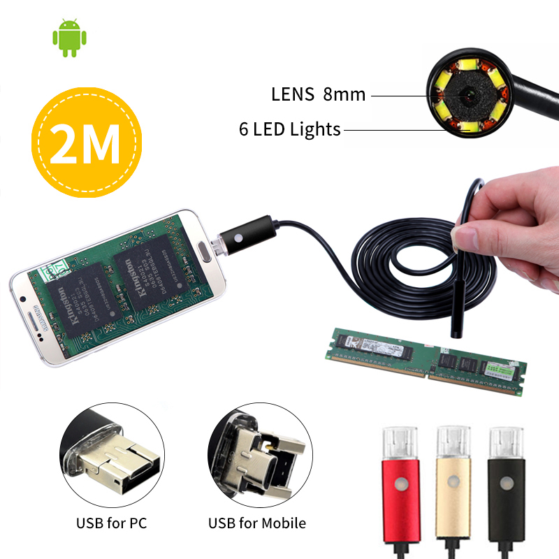 Android 2 in 1 USB Endoscope Camera 8MM Lens Phone Endoscope Mini Camera Inspection Borescope Tube Snake Pipe Kamera Endoscopic 8mm 2in1 micro usb endoscope camera 2m lens android phone endoscope mini camera inspection borescope tube snake mini camera