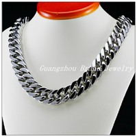 New Huge Heavy Male Jewelry 316L Stainless Steel Silver Tone Curb Cuban Chain Men's Necklace Highly Polished 24*17MM