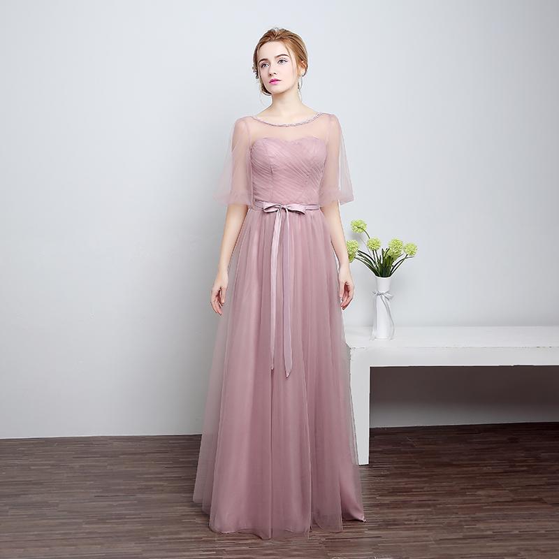 Ruthshen Brautjungfernkleider Lange 2018 Neue Designer Rosa/Silber ...