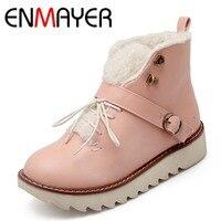 ENMAYER Big Size 43 Advanced PU Leather Ankle New Fashion Round Toe Lace Up Warm