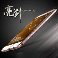 Pokrywa dla oppo f1 plus case rama zderzak superior luphie diament w kształcie stopu metalu tylna pokrywa dla oppo r9 z naklejki