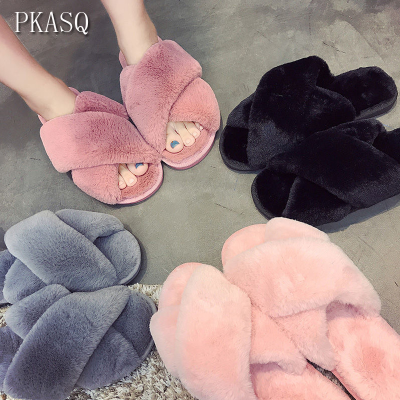 PKSAQ Winter Women Home Slippers with Faux Fur Fashion Warm Shoes Woman Slip on Flats Female Slides Black Pink #AN02PKSAQ Winter Women Home Slippers with Faux Fur Fashion Warm Shoes Woman Slip on Flats Female Slides Black Pink #AN02