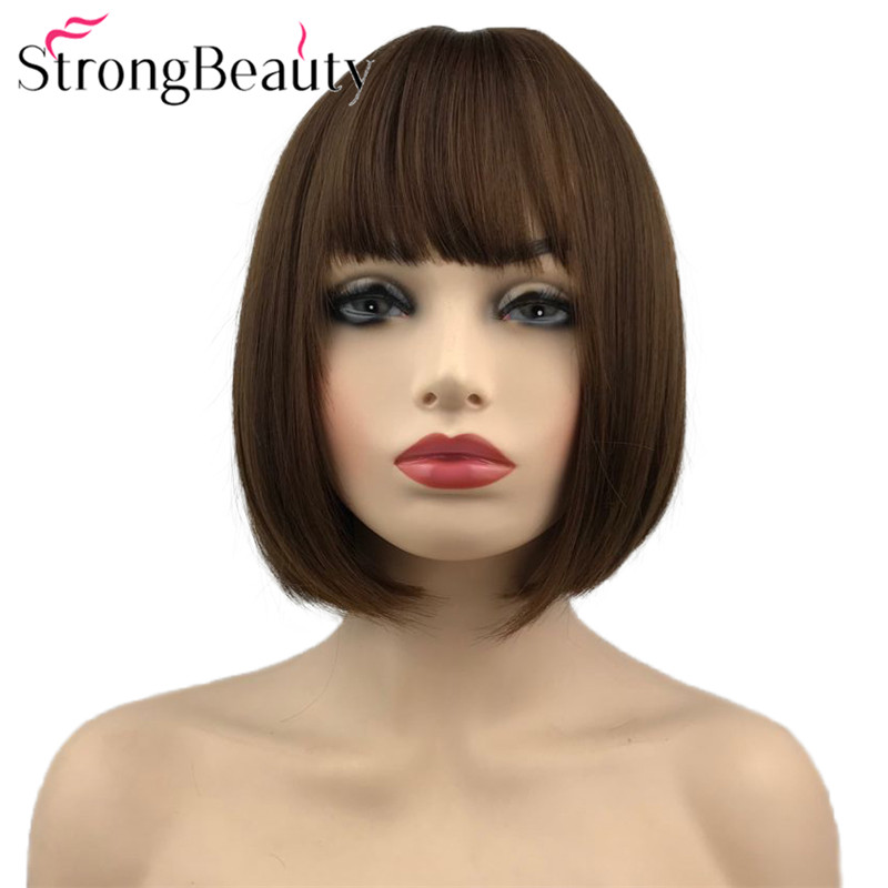 Strong Beauty Short Bob Wigs Synthetic Straight Hair Cosplay Wig For Women 10 Inches 3 Colors