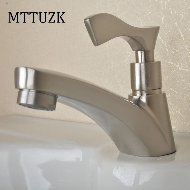 MTTUZK High quality Stainless Steel Single Hole Bathroom Basin Faucet Single Cold Water Tap High Class