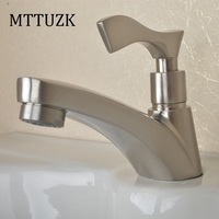 High Quality 304 Stainless Steel Single Hole Bathroom Basin Faucet Single Cold Water Tap High Class