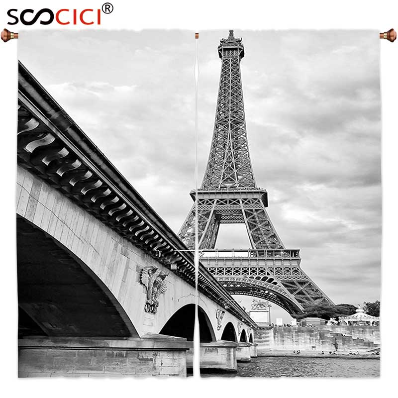 Window Curtains Treatments 2 Panels,Eiffel Tower Decor Collection Eiffel Tower Cloudy Sky View from Seine River under the Bridge