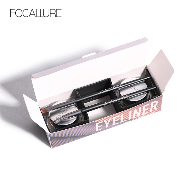 FOCALLURE 2pcs/set  Black Eyeliner Gel Cream waterproof long lasting eyeliner professional eyebrow gel with brushes 4