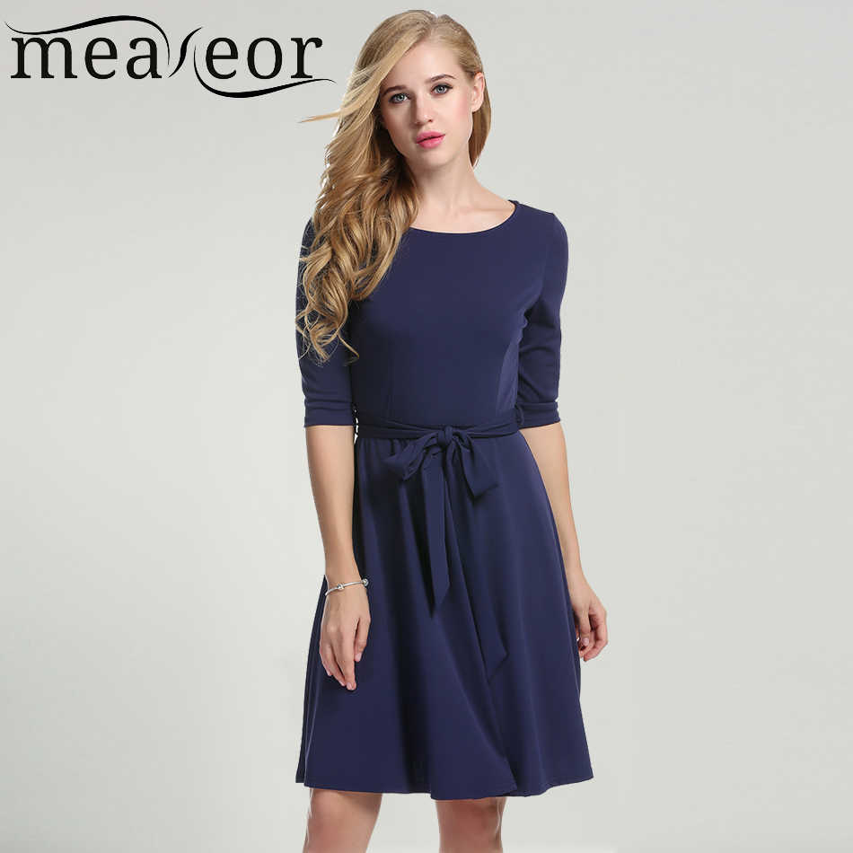acc004f89b Meaneor New Women Autumn Dress with Cloth Belt Casual O-Neck Half sleeve  Vestidos Solid