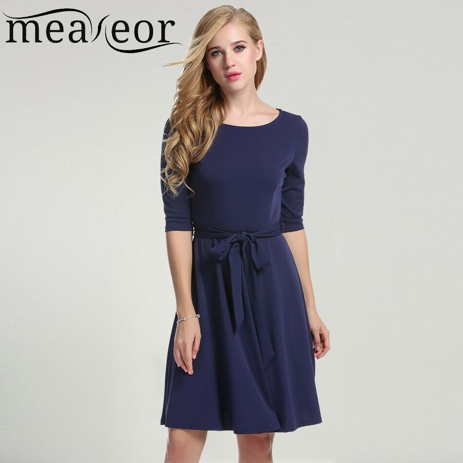 f5ab1ae634 Meaneor nowy kobiety jesień dress z tkaniny pas dorywczo o-neck połowa  rękawem vestidos solidna kolano długość plisowane dress rozmiar s-xxl