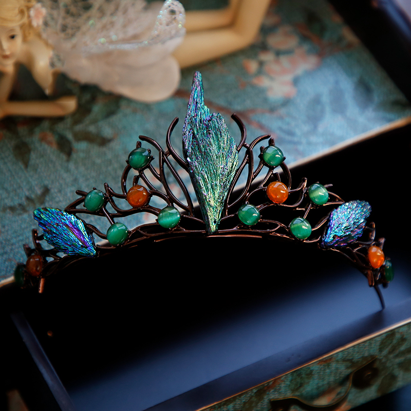 Image 3 - HIMSTORYm Unique Blue Green Cosplay Party Forest Elf Branch Hair Crown Women Peacock Evening Pageant Jewelry Hair Accessories-in Hair Jewelry from Jewelry & Accessories
