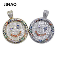 Hip Hop Fashion Smile Emoji Necklace Cubic Zircon Gold Silver Color Micro Pave Pendant Necklace With Stainless Steel Chain Gifts