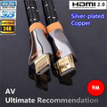 EMS Free Shipping 9M Ultimate High Speed HDMI 2.0 Cable With Ethernet Silver plated copper Full HD 2160P 4K 3D for PS3 LCD HDTV