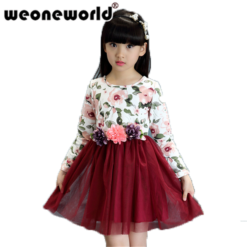 WEONEWORLD Baby Girl Dress Long Sleeve Kids Dresses for Girls Spring Children Clothing Kids Clothes Autumn Party Girls Dress girl