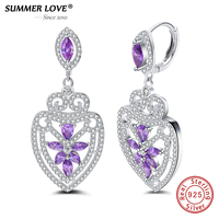 Authentic 100 925 Sterling Silver Luxury Purple Drop Earrings Big Crystal Baroque Style Earrings With Clear