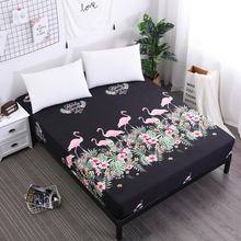 Bed-Sheet Mattress-Protector Polyester Elastic with for Child Brushed Flamingos Printing