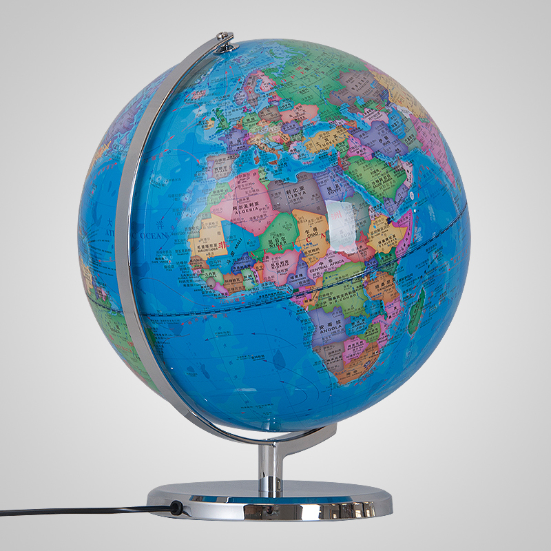 32cm Blue Earth Globe Table Lamp World Map Light Home Study Office Desk  Decor Geography Teaching Kids Room Lamp Gift Metal Base In Table Lamps From  Lights ...