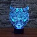 Iluminação Noturna 7 Mudando A Cor da Cara do leão Animal Levou Luzes Da Noite 3D Mesa LIDERADA Lâmpada De Mesa como Decoração de Casa