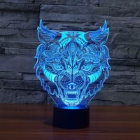 Lion Face Night Lighting 7 Color Changing Animal Led Night Lights 3D LED Desk Table Lamp