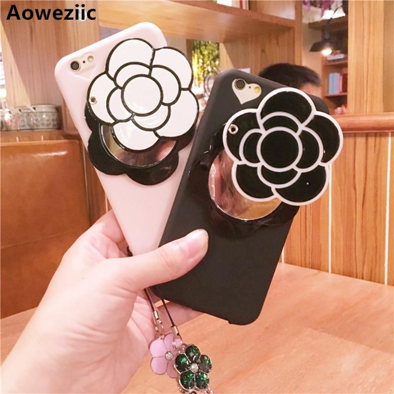 Aoweziic Coréia Nova Camélia Espelho Caso de Telefone Para o iphone X XS MAX XR 6 além de 7 8 pó de casca mole luva protetora