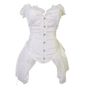 Image 5 - FLORATA beyaz Overbust bel eğitmen korseler elbise Steampunk gotik giyim Burlesque kostümleri kadınlar için 50% kapalı tasfiye satışı
