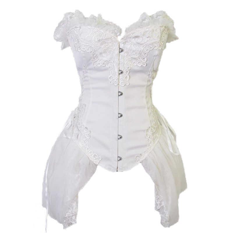 FLORATA белый корсет с бюстом корсет с юбкой стимпанк готическая одежда Бурлеск костюмы для женщин 50% скидка распродажа