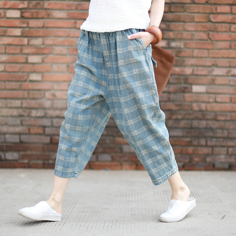 New Vintage Plaid Jeans Women Bleached Loose Casual Jeans Trousers