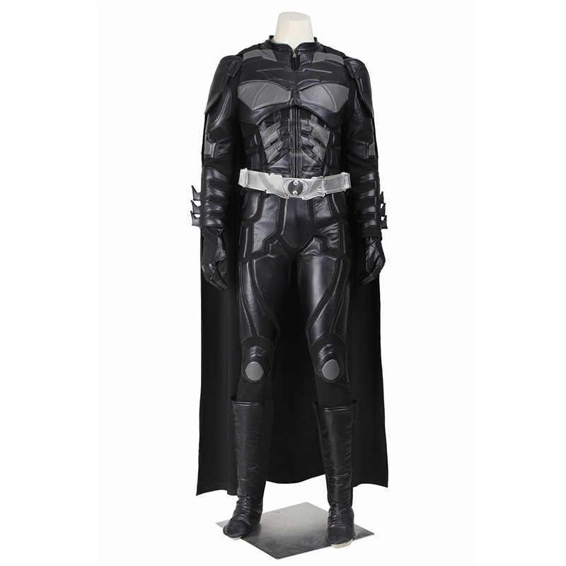 Batman Cosplay Costume Bruce Wayne Del Capo The Dark Knight Rises Cosplay DELL'UNITÀ di ELABORAZIONE Dei Vestiti Superhero Outfit Set Completo Adulto Uomini Hallowen