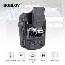 BOBLOV PD50 FULL HD 1296P vücut kamerası polis IR gece görüş mini kamera policial Video kaydedici DVR WDR güvenlik cep kamera