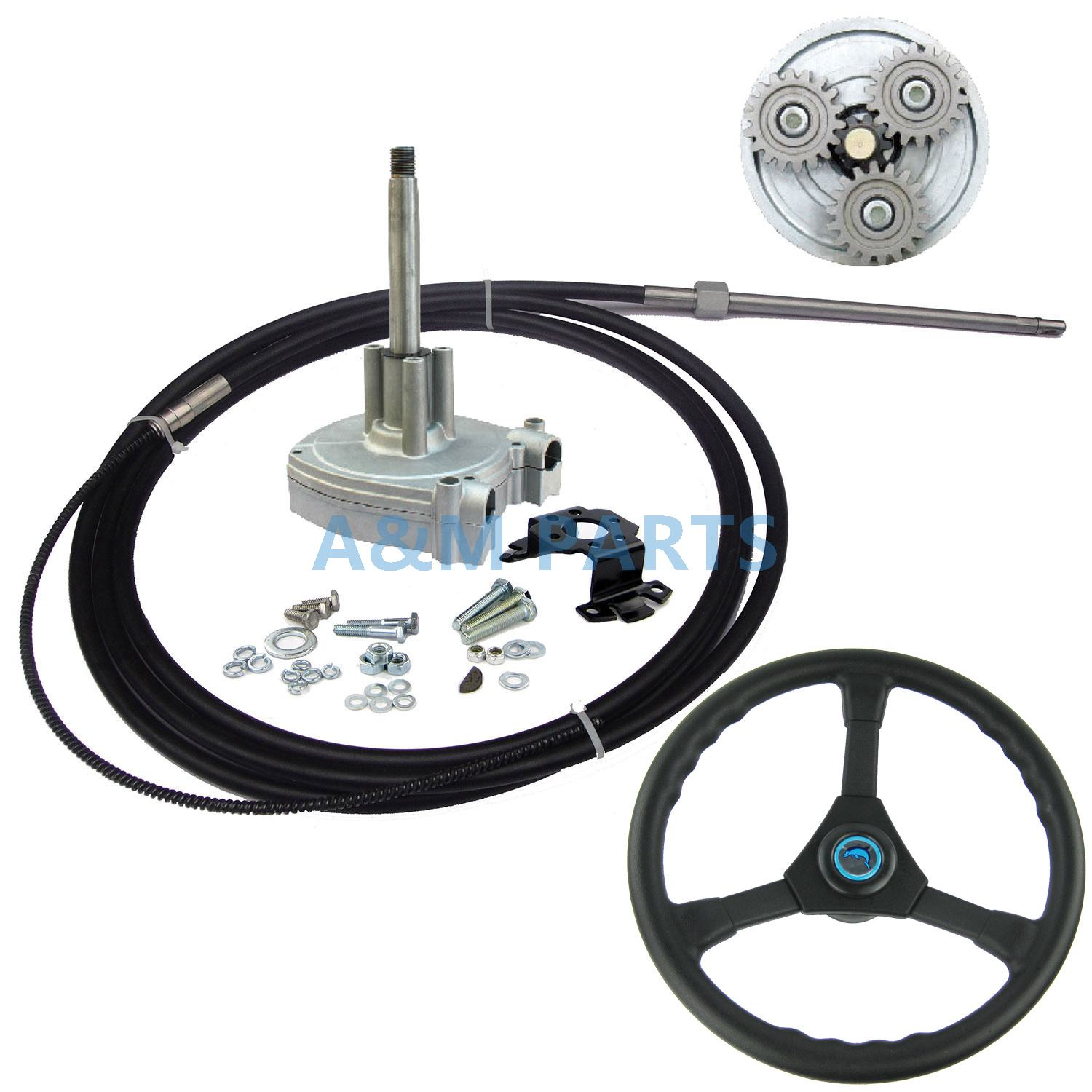 15 FT Boat Outboard Steering System Marine Engine Planetary Gear Steering Control With 15FT Cable and Plastic Steering Wheel