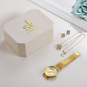 Image 2 - Shengke Luxury Gold Watches Earrings Necklace Women Set 2019 Top Brand SK Ladies Wrist Watch With Crystal Jewelry Set