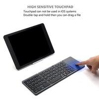 뜨거운 판매 미니 블루투스 USB 충전 키보드 터치 패드 무선 접이식 슬림 키패드 PC 태블릿 노트북