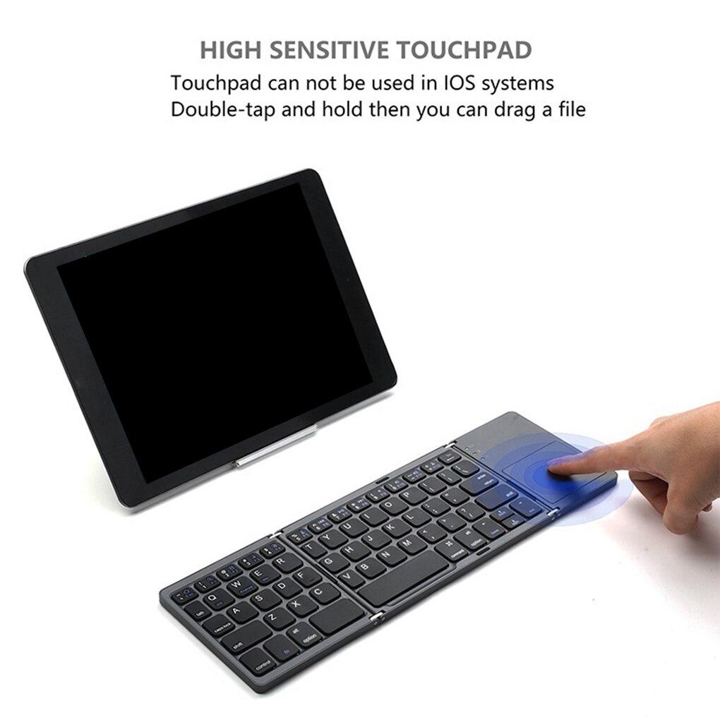 Venda quente Mini Bluetooth Touchpad Teclado Sem Fio de Carregamento USB Dobrável Teclado Slim PC Tablet Laptop