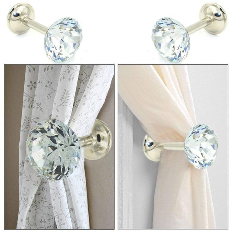 2pcs Large Metal Crystal Ball Curtain Hooks Holdback