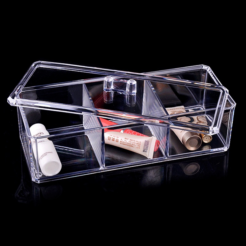 Transparent 3 Grid Jewelry Box Storage Display Organizer Holder Drawer with Clear Cover Cosmetic Makeup Holder Gift Box 2017 New