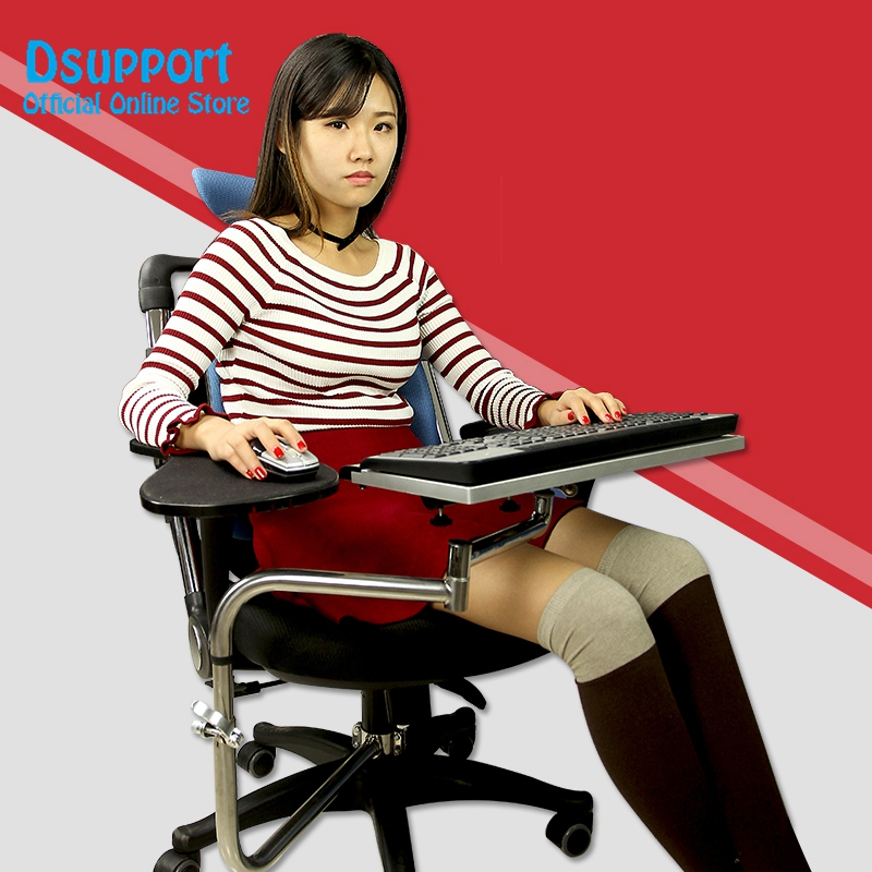Multifunctional Full Motion Chair Clamping Keyboard/Laptop Desk Holder+Chair Arm Clamping Mouse Pad OK010 ok 110 full motion desk edge table side chair leg clamping mouse pad keyboard tray holder laptop desk notebook stand